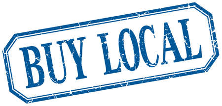 buy local: buy local square blue grunge vintage isolated label