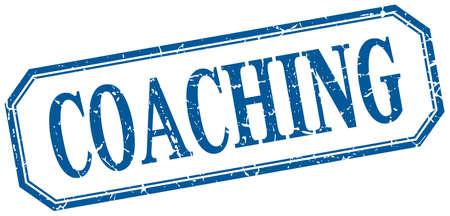 coaching: coaching square blue grunge vintage isolated label