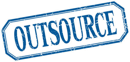 outsource: outsource square blue grunge vintage isolated label