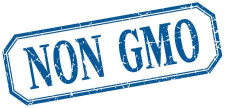 non: non gmo square blue grunge vintage isolated label Illustration