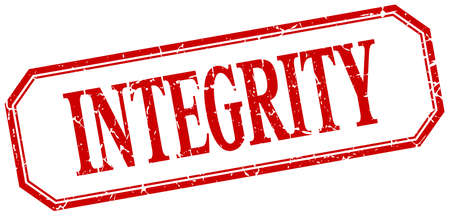 integrity: integrity square red grunge vintage isolated label