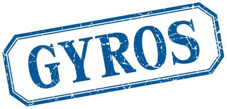 gyros: gyros square blue grunge vintage isolated label