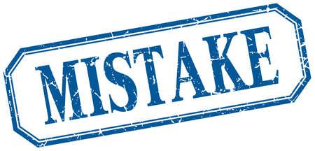 mistake: mistake square blue grunge vintage isolated label Illustration