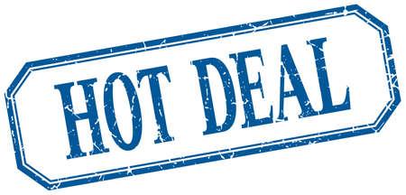 hot deal: hot deal square blue grunge vintage isolated label