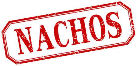 nachos: nachos square red grunge vintage isolated label