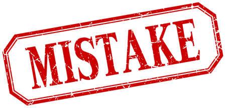 mistake: mistake square red grunge vintage isolated label Illustration