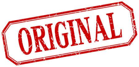 original: original square red grunge vintage isolated label