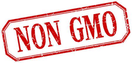 non: non gmo square red grunge vintage isolated label