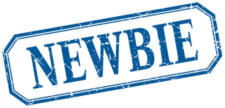 newbie: newbie square blue grunge vintage isolated label