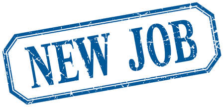new job: new job square blue grunge vintage isolated label