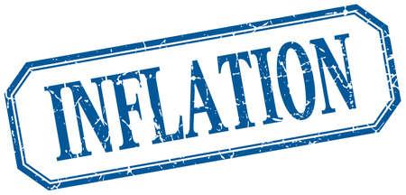 inflation: inflation square blue grunge vintage isolated label Illustration