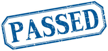 passed: passed square blue grunge vintage isolated label