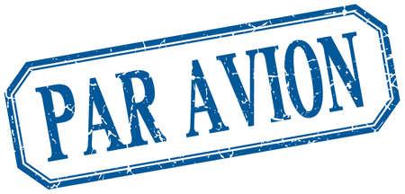 par avion: par avion square blue grunge vintage isolated label Illustration