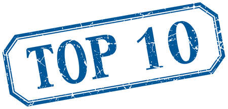 top 10: top 10 square blue grunge vintage isolated label