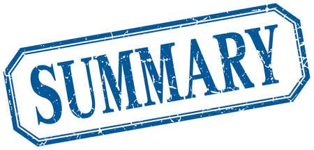 summary: summary square blue grunge vintage isolated label
