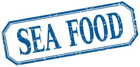 sea food: sea food square blue grunge vintage isolated label