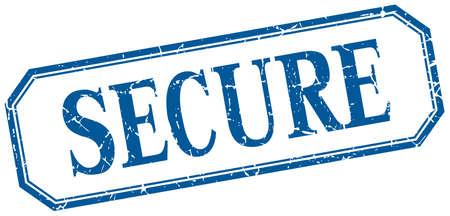 secure: secure square blue grunge vintage isolated label