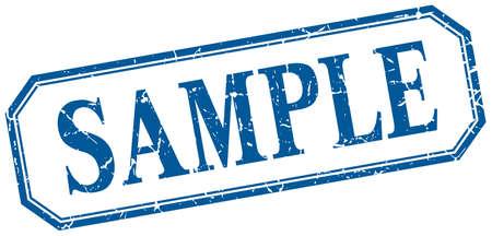 sample: sample square blue grunge vintage isolated label Illustration