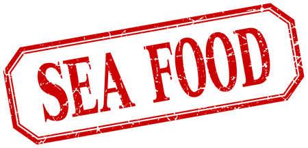 sea food: sea food square red grunge vintage isolated label Illustration