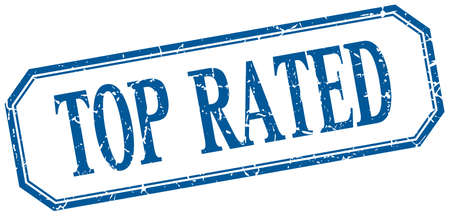 rated: top rated square blue grunge vintage isolated label