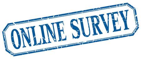 online survey: online survey square blue grunge vintage isolated label Illustration