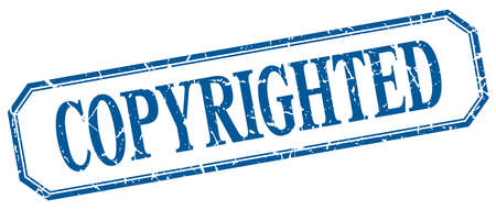 copyrighted: copyrighted square blue grunge vintage isolated label Illustration