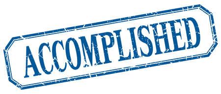 accomplished: accomplished square blue grunge vintage isolated label