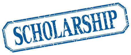 scholarship: scholarship square blue grunge vintage isolated label