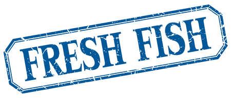 fresh fish: fresh fish square blue grunge vintage isolated label