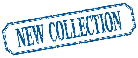 new collection: new collection square blue grunge vintage isolated label