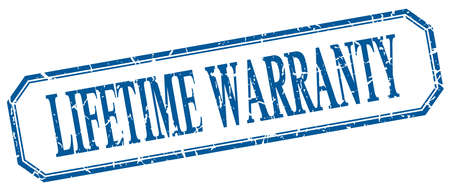 lifetime: lifetime warranty square blue grunge vintage isolated label