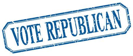 republican: vote republican square blue grunge vintage isolated label