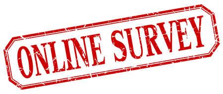 online survey: online survey square red grunge vintage isolated label