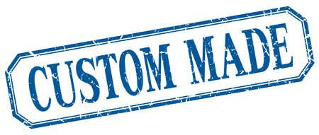 custom made: custom made square blue grunge vintage isolated label Illustration