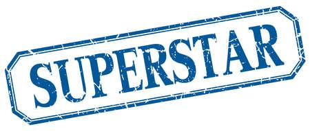 superstar: superstar square blue grunge vintage isolated label