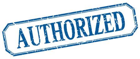 authorized: authorized square blue grunge vintage isolated label Illustration