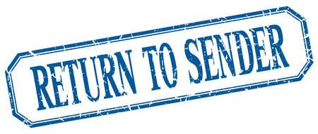 sender: return to sender square blue grunge vintage isolated label Illustration