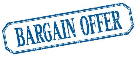 bargain: bargain offer square blue grunge vintage isolated label