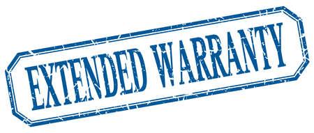 estendido: extended warranty square blue grunge vintage isolated label