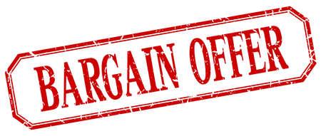 bargains: bargain offer square red grunge vintage isolated label Illustration