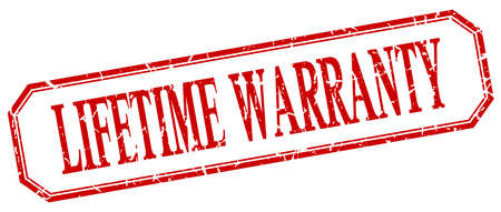 lifetime: lifetime warranty square red grunge vintage isolated label