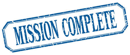 accomplish: mission complete square blue grunge vintage isolated label