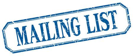 mailing: mailing list square blue grunge vintage isolated label Illustration