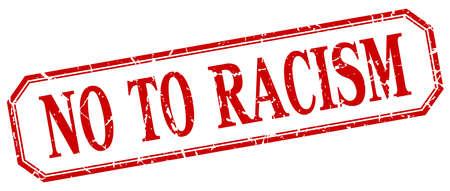 racismo: no a la etiqueta de aislados racismo cuadrado rojo de la vendimia del grunge Vectores