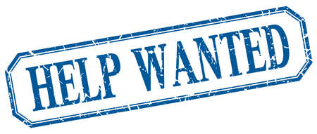 help wanted: help wanted square blue grunge vintage isolated label