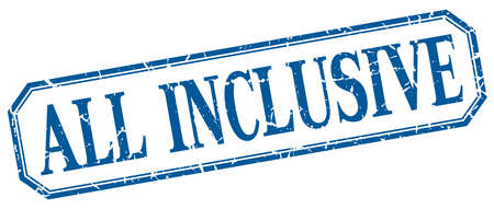 inclusive: all inclusive square blue grunge vintage isolated label