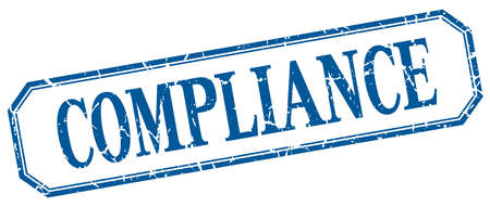 compliance: compliance square blue grunge vintage isolated label Illustration