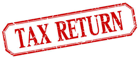 return: tax return square red grunge vintage isolated label