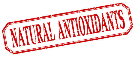 antioxidants: natural antioxidants square red grunge vintage isolated label Illustration