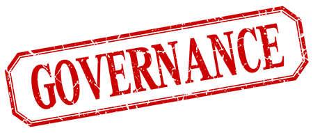 governance: governance square red grunge vintage isolated label Illustration